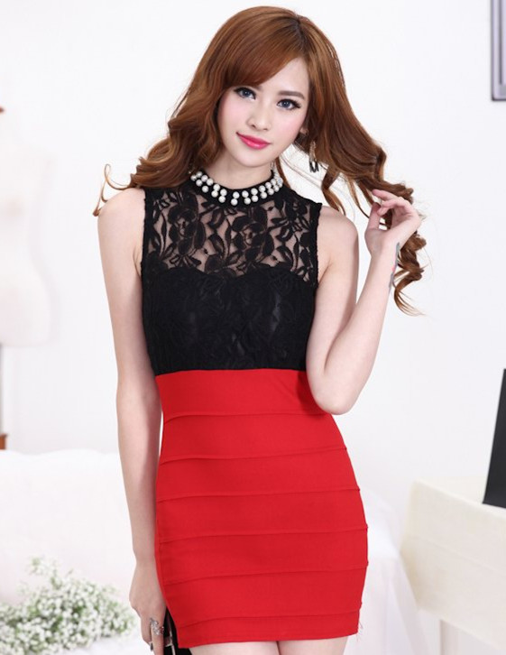 Wholesale Sexy 2 Colors Bead High Collar Lace Cotton Bodycon Dress