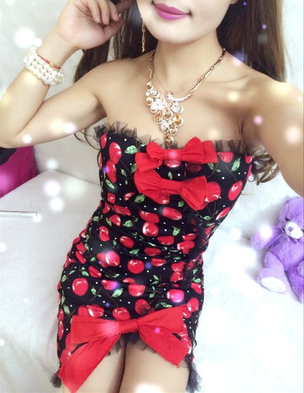 Korea Sexy Charming 3 Colors Bowknots Cherry Skinny Cotton Dress