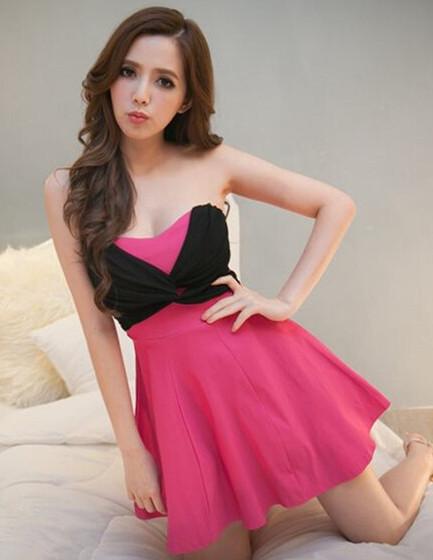 Korea Modern New 4 Colors Chiffon Twist Bust Flouncing Cotton Dress