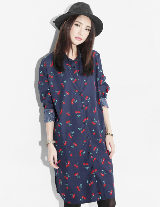 Spring Fashion New Cherry Printings Loosen Long Cotton Shirt Dress
