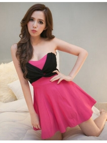 Korea Modern New 4 Colors Chiffon Twist Bust Flouncing Cotton Dress