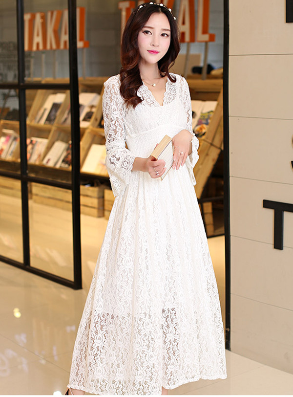 Grace Women V-neck Flare Sleeve Hollow Out Lace Long Dress