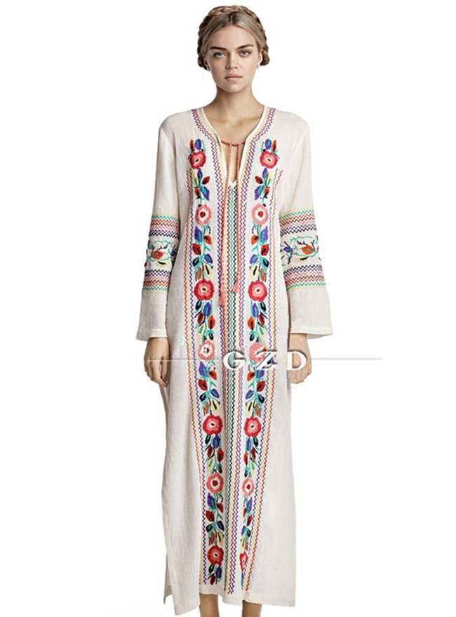National 2 Colors V-neck Flowers Embroidery Long Sleeve Maxi Dress