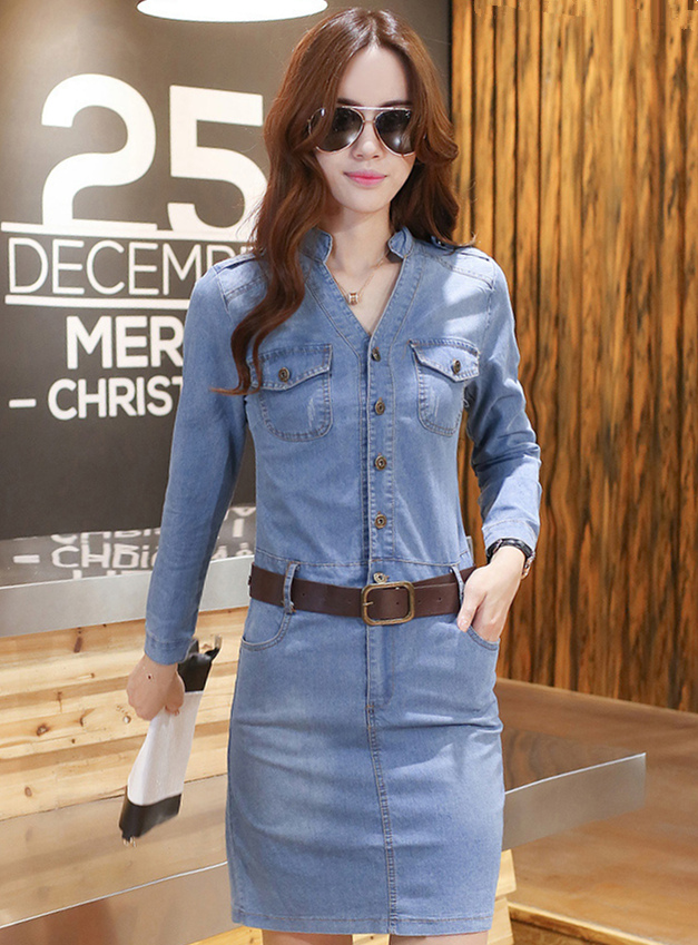 Korea OL Wholesale Single-breasted V-neck Skinny Long Sleeve Denim Dress