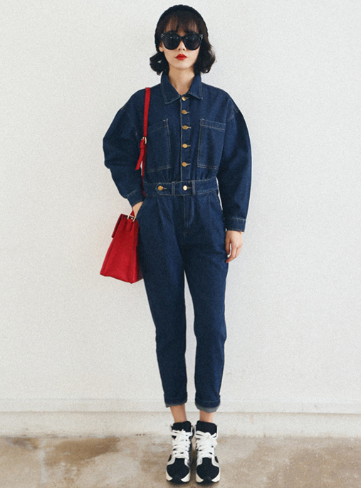 Retro Single-breasted Turn-down Collar Long Sleeve Denim Jumpsuits