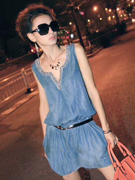 Wholesale New Rhinestones V-neck Slim Denim Sleeveless Jumpsuits
