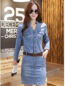 Korea OL Wholesale Single-breasted V-neck Skinny Long Sleeve Denim Dress