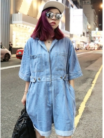 Wholesale Street Fashion Turn-down Collar Loosen Denim Jumpsuits