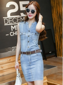 Wholesale 2 Colors Buttons V-neck Skinny Tank Denim Dress