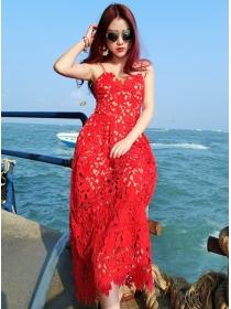 Fashion Hot Jingjing 2 Colors Hollow Out Straps Lace Dress