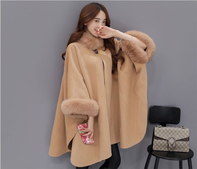 Grace Women 2 Colors Fur Collar Loosen Woolen Wraps Coat