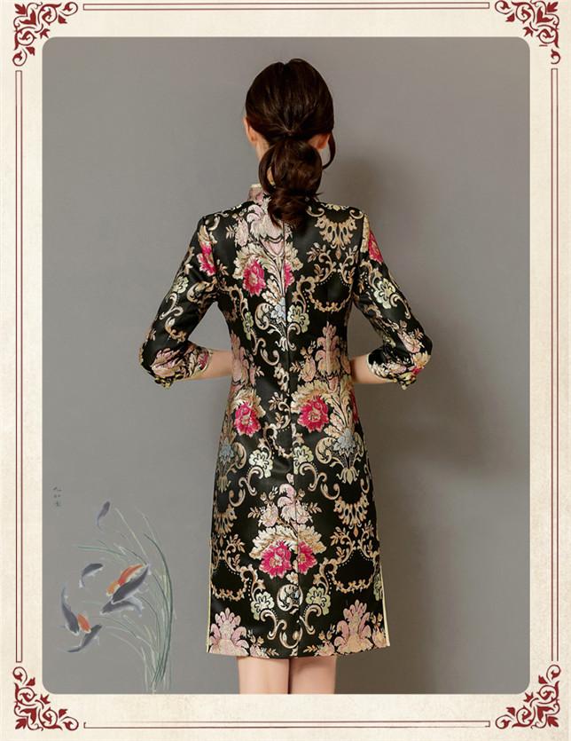 Retro Women Fashion Flowers Embroidery Slim Cheongsam Dress