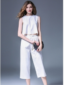 Europe Fashion 2 Colors Stripes Elastic Waist Wide-leg Suits