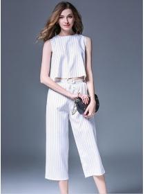 Europe Fashion 2 Colors Stripes Elastic Waist Wide-leg Suits