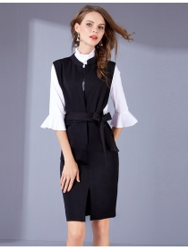 Fashion OL Stand Collar Blouse with Tying Waist Tank Dress