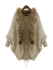 Europe Wholesale Fur Collar Loosen Sweater Cardigans