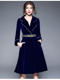 Winter Fashion 2 Colors Tailored Collar Velvet Coat Dress