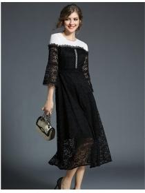 Fashion Women Color Block Splicing Lace Long Dress