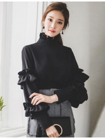 Fashion Feminity Stand Collar Layered Flouncing Sleeve Blouse