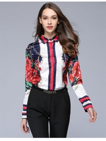 Street Fashion Flowers Chain Printing Satin Blouse