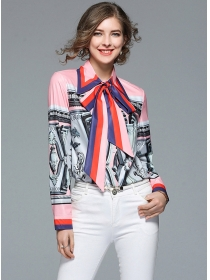 Fashion Europe Bowknot Collar Printings Loosen Blouse