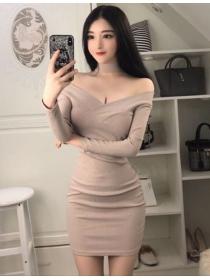 Wholesale Korea 2 Colors Off Shoulder Slim Knitting Dress