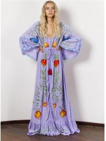 Bohemia Fashion V-neck Flowers Embroidery Puff Sleeve Maxi Dress