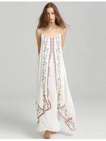 Hot Selling Flowers Embroidery Flouncing Linen Maxi Dress