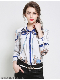 Europe Spring 2 Colors Anchor Flowers Satin Blouse
