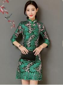 Elegant Fashion Lace Flowers Embroidery Cheongsam Slim Dress