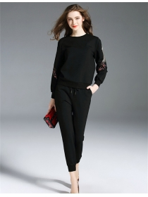 Europe Spring Crane Embroidery Slim Cotton Two Pieces Suits