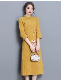 Retro Korea Flowers Printings A-line Cheongsam Dress