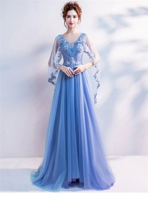 Boutique Fashion Beads Flowers Embroidery Gauze Evening Dress