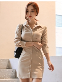 Fashion Korea Shirt Collar Bodycon Long Sleeve Dress