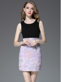 Cheap Wholesale Round Neck Jacquard Flowers Tank Dress