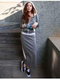 Autumn Fashion Hooded Zipper Open Slim Leisure Dress Set