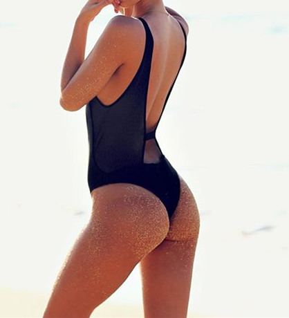 Sexy Fashion Zipper V-neck One Piece Bikini Swimsuit