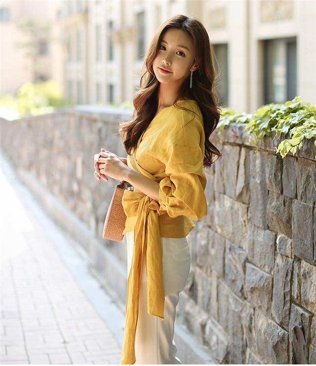 Grace Korea Fashion Tying Waist Puff Sleeve Dress