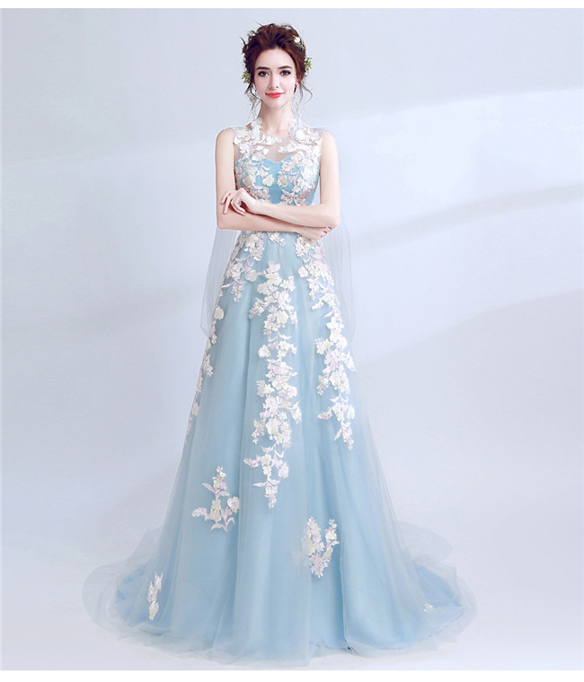 Charming Look Backless Flowers Embroidery Fishtail Prom Dress ...