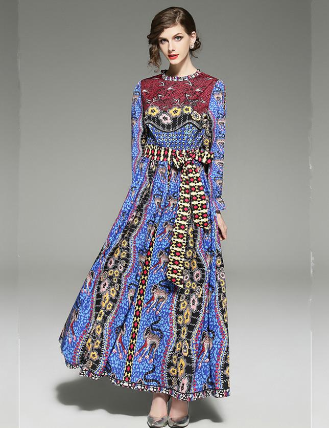Retro Europe Fashion Tie Waist Flowers Maxi Dress