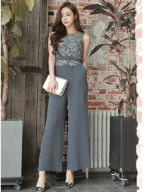 Korea Women Fashion High Waist Lace Splicing Wide-leg Jumpsuit