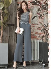 Korea Women Fashion High Waist Lace Splicing Wide-leg Jumpsuit