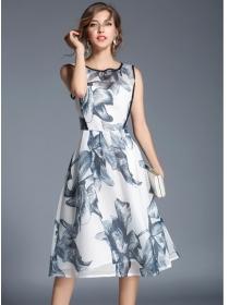 Retro Europe Flowers Printing Hollow Out Plaids Tank A-line Dress