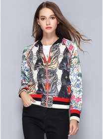 Brand Fashion Flowers Tiger Sequins Embroidery Short Coat