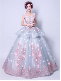 Fairy Fashion Stereo Flowers Embroidery Organza Maxi Dress