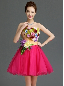 Pretty Lady Stereo Colorful Flowers Organza Party Dress