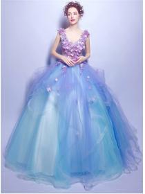 Charming Fairy Beading Flowers Gauze Fluffy Princess Dress