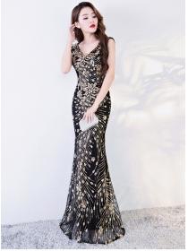 Grace Women V-neck Sequins Flowers Fishtail Prom Dress
