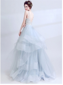 Charming Lady Backless Hollow Out Organza Layered Maxi Dress