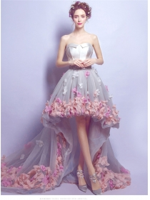 Romantic Fashion Strapless Colorful Flowers Dovetail Bride Dress